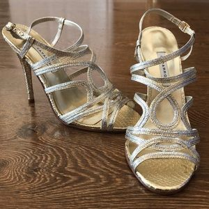 Caparros Silver and Gold Strappy Heels-Never Worn